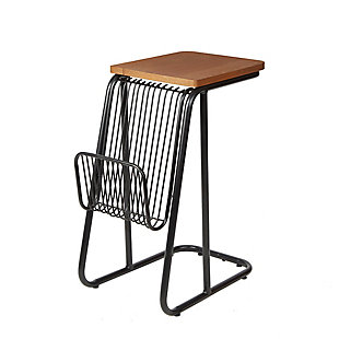 Derby Industrial Frame C-Table with Wire Magazine Rack, Matte Black/Walnut, large
