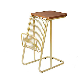 Derby Industrial Frame C-Table with Wire Magazine Rack, , large