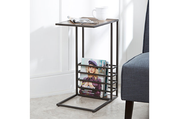 Derby Wood and Metal End Table, , large
