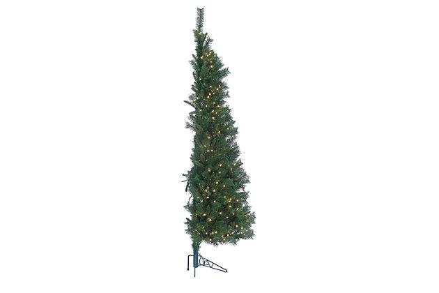 Decorative 7' Pre-Lit Tiffany Pine Wall Tree, , large