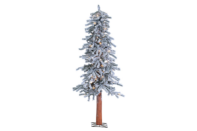 Decorative 5' Pre-Lit Flocked Alpine Tree with 100 clear lights, , large