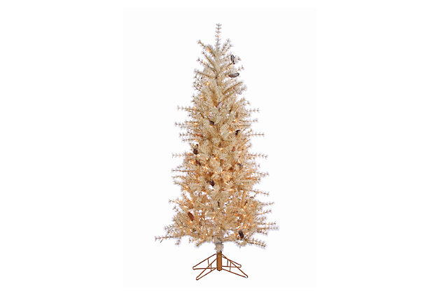 Decorative 6' Frosted Needle Slim Tree With Pinecones