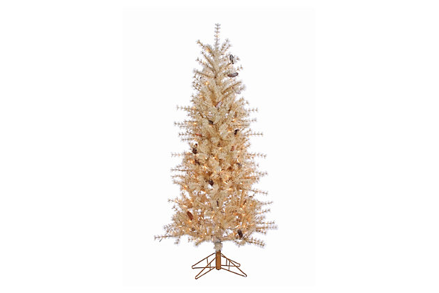 Decorative 6' Frosted Needle Slim Tree with Pinecones, , large