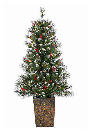 Decorative 4' Pre-Lit Potted Mixed Needle Glazier Pine, , large