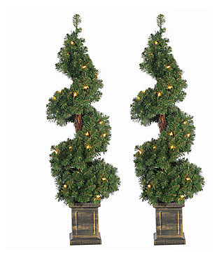 Decorative 2-Piece Pre-Lit Potted Spiral Trees, , large