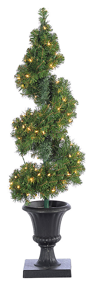 Decorative 4' Pre-Lit Potted Spiral Tree with Round Branch Tips, , large