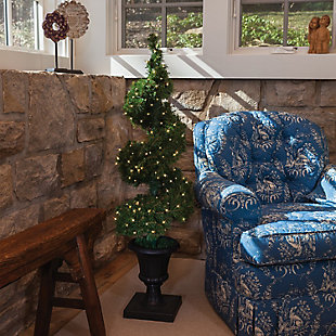 Decorative 4' Pre-Lit Potted Spiral Tree with Round Branch Tips, , rollover