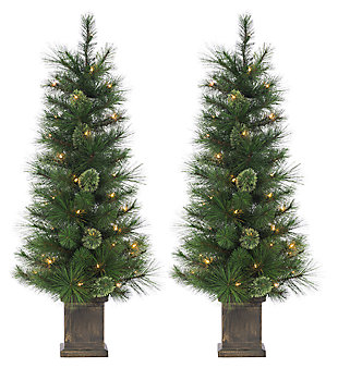 Decorative 2-Piece Potted Mixed Needle Cashmere Tree, , large