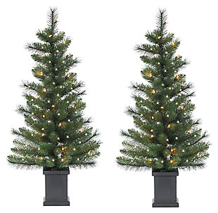 Decorative 3' Potted Mixed Needle Sycamore Spruce Tree, , large