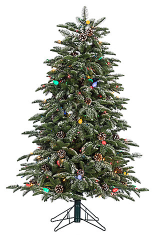 Decorative 4' Pre-Lit Lightly Flocked Smoky Mountain Pine Tree, , large