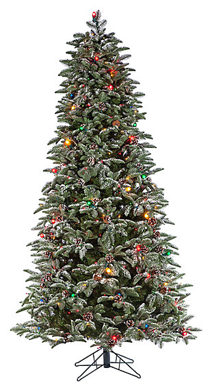 Decorative 6.5' Pre-Lit Flocked Mountain Pine Tree, , large