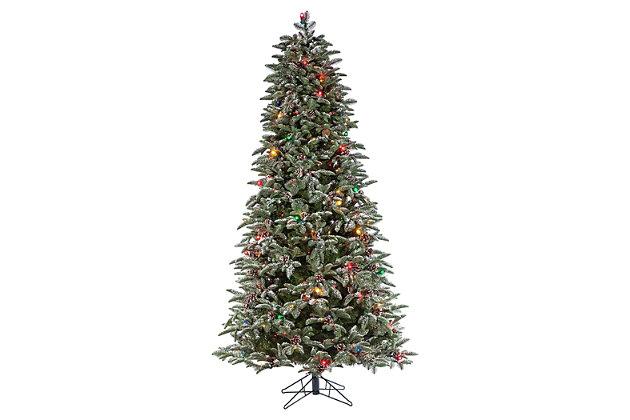 Decorative 6.5' Pre-lit Flocked Mountain Pine Tree, , large