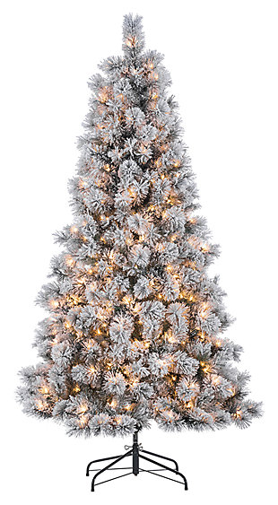 Decorative 6.5' Pre-Lit Flocked Mixed Needle Boise Pine Tree, , large