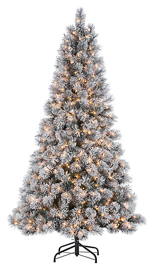 Decorative 7.5' Pre-Lit Flocked Mixed Needle Boise Pine Tree, , large