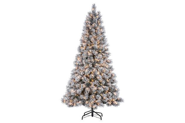 Decorative 7.5' Pre-Lit Flocked Mixed Needle Boise Pine Tree, , large