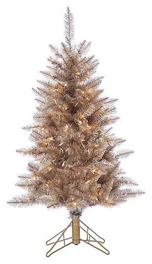 Decorative 4' Pre-Lit Rose Gold Tuscany Tinsel Tree, , large