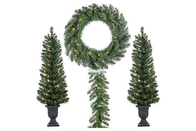 Decorative 4-Piece Vancouver Pine Seasonal Entryway Greenery, , large