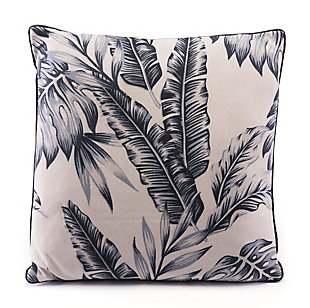 Modern Leaf Print Pillow, , rollover