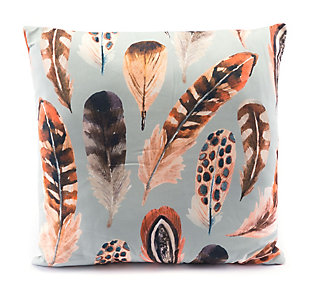 Modern Feather Print Pillow, , rollover