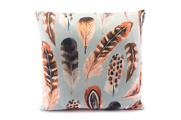 Modern Feather Print Pillow, Blue/Brown, large