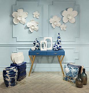 Modern Floral Print Pillow, , rollover