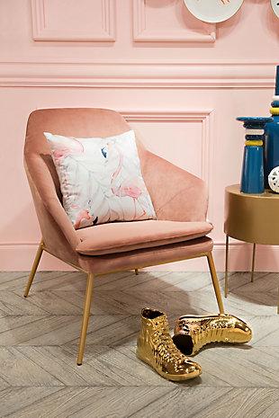 Modern Flamingo Print Pillow, , rollover