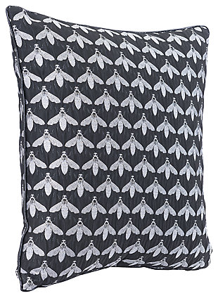 Modern Bee Print Pillow, Black/White, large