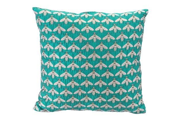 Modern Bees Verdigrin Pillow, Green, large