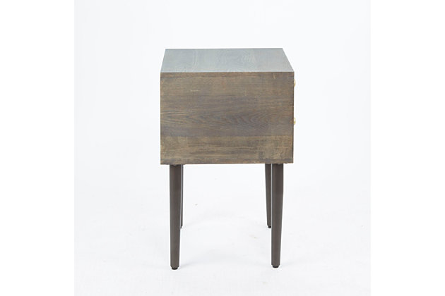 Mid Century Modern 2 Drawer Side Table, , large