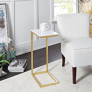 Metal C-shaped Accent Table, White/Gold, large