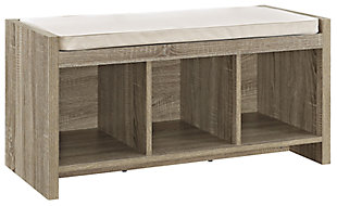 Carolina Storage Bench, Distressed Gray Oak, large