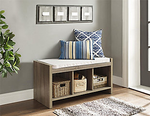 Carolina Storage Bench, Distressed Gray Oak, rollover