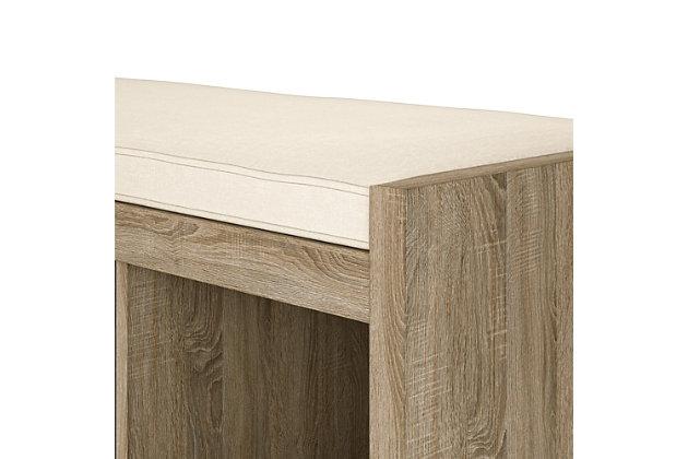 Carolina Storage Bench, Distressed Gray Oak, large