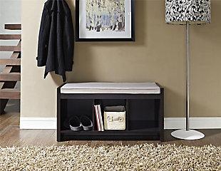 Carolina Entryway Storage Bench with Cushion, Espresso, large