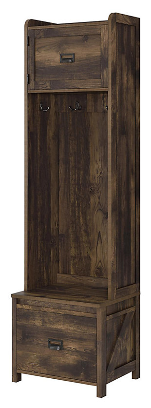 Cohen Entryway Hall Tree with Storage Bench, Rustic, large
