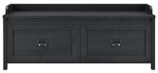 Duver Entryway Storage Bench, Black/Oak, large