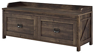 Duver Entryway Storage Bench, Rustic, large