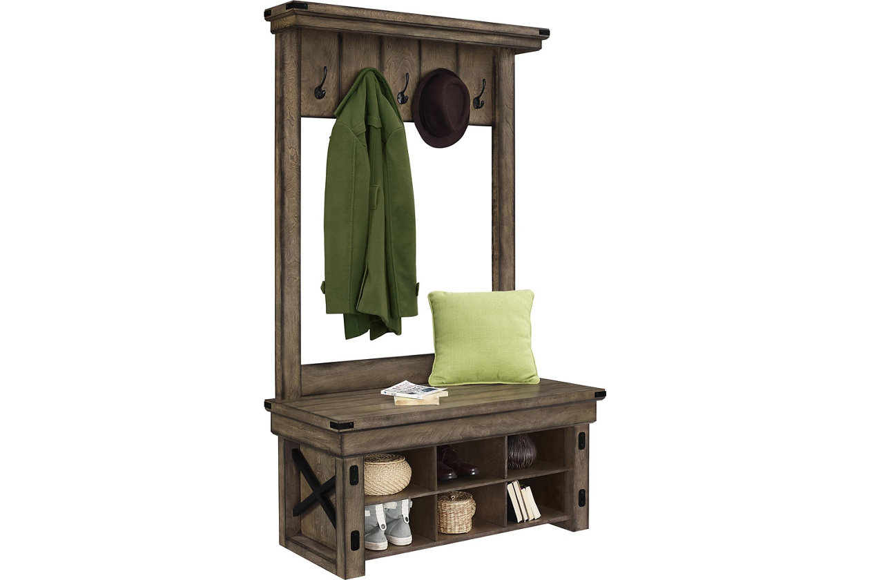 Admirable Daisee Entryway Hall Tree With Storage Bench Ashley Customarchery Wood Chair Design Ideas Customarcherynet