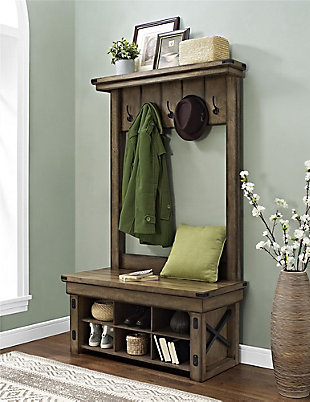 Daisee Entryway Hall Tree with Storage Bench, , rollover