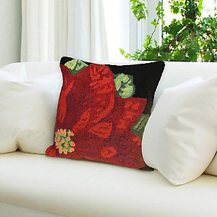 "Decorative Liora Manne Holiday Bloom Indoor/Outdoor Pillow 18"" Square, , rollover"