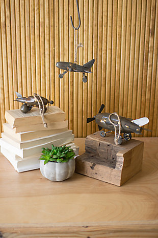 Decorative Metal Airplane Ornaments (Set of 3), , large