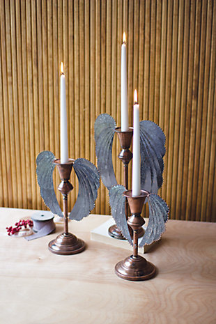 Decorative Angel Wing Candle Holders (Set of 3), , large