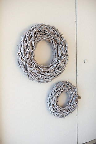 "Decorative 19"" Willow Root Christmas Wreath (Set of 2), , large"
