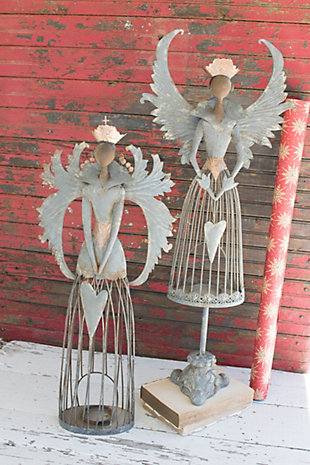 Decorative Metal Christmas Angels (Set of 2), , rollover
