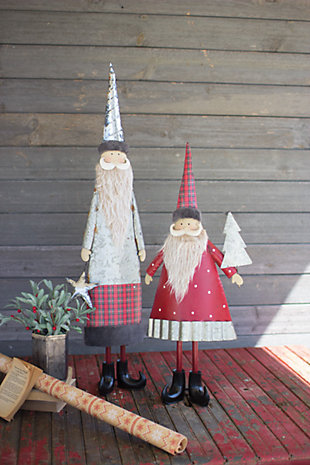 Decorative Metal Santas (set of 2), , large