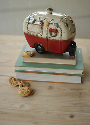 Decorative Ceramic Christmas Camper Canister, , large