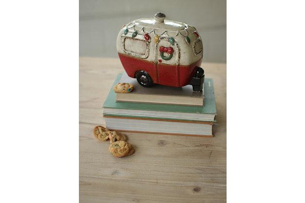Decorative Ceramic Christmas Camper Canister, , large