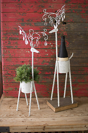 Decorative Metal Deer Planters With Glass Gems - Ant White (Set of 2), , large