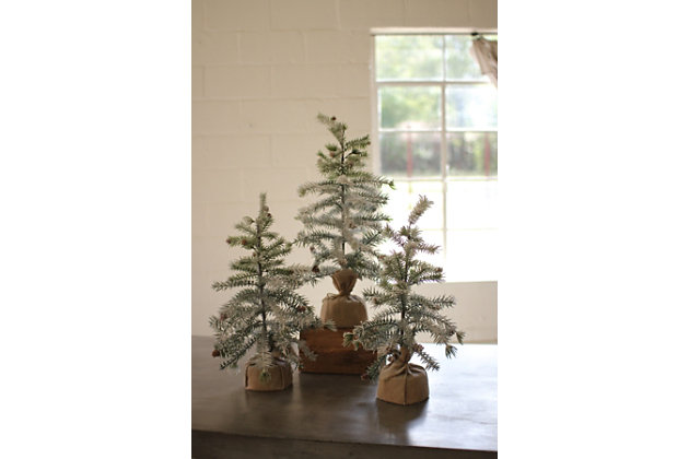 Decorative Artificial Pine Trees with Snow Detail (Set of 3), , large
