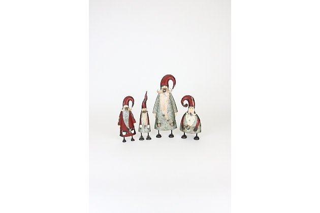 Decorative Galvanized And Painted Santas (Set of 4), , large